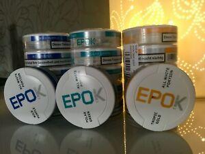5-Dosen-EPOK-Kautabak-Snus-Polar-Green-Wild-Purple-Tropical-Gold