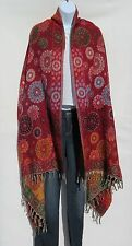 Yak Wool Shawl/Throw-Handloomed in Nepal-Reversible-Red/Green/Gold/Blk/Aqua/Tan