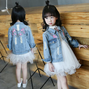 78cd066c1 Details about Girl's Fashion Jean jacket Outerwear Cotton child's  embroidery denim jacket coat