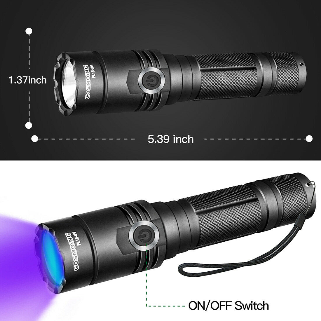 Image 4 - 395nm UV Light Blacklight Tactical LED Flashlight Rechargeable 18650 Torch Lamp