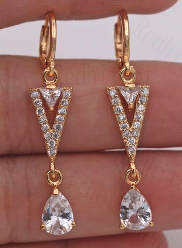 "18K Gold Filled 1.65/"" Boucles d/'oreilles clair Zircon Topaze Triangle Teardrop Dangle Femmes"