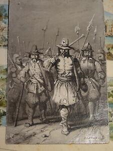 Ecole-FRANCAISE-XIX-DESSIN-LAVIS-MILITAIRE-HALLEBARDIER-ARMEE-SUISSE-1845