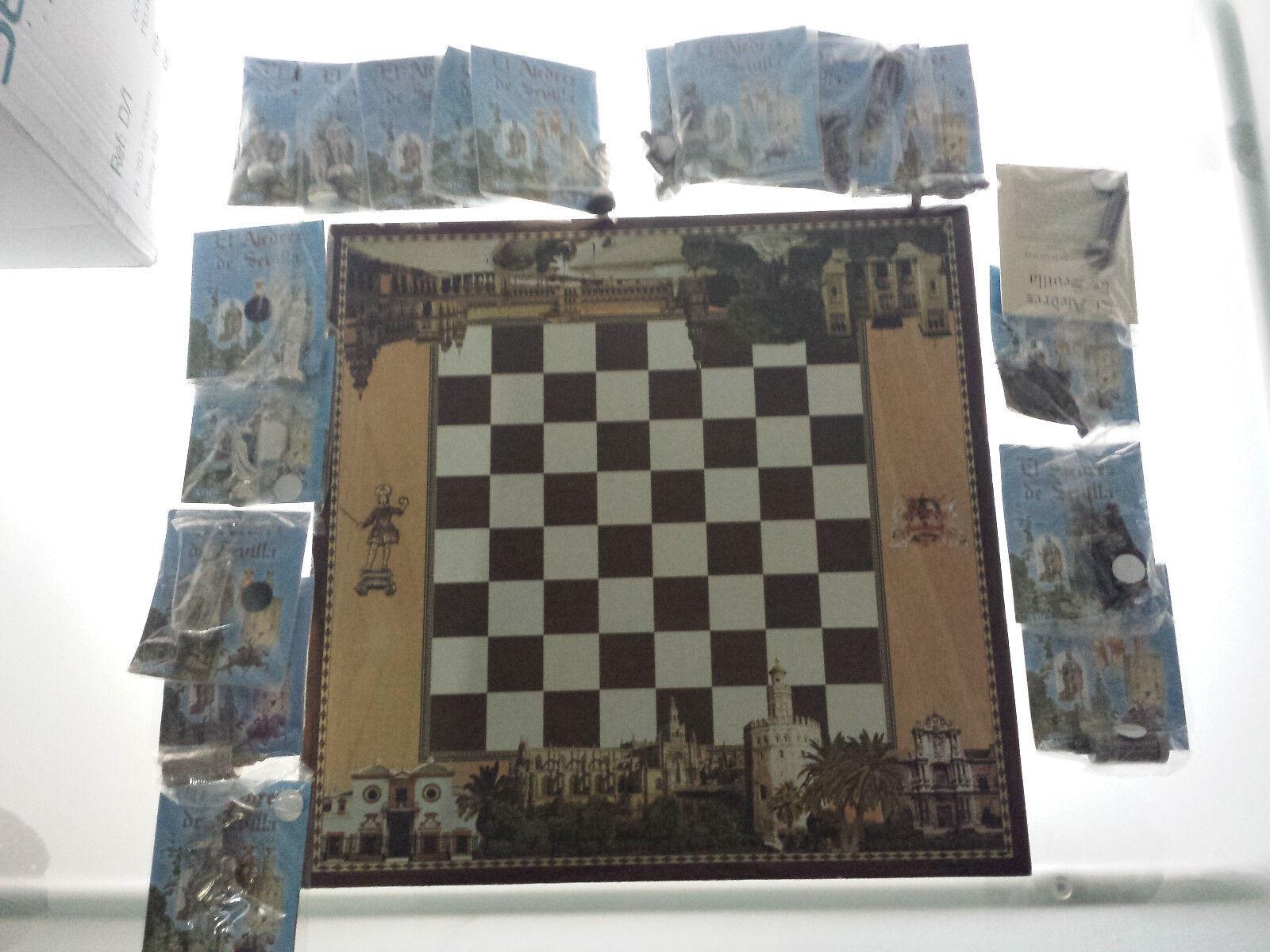 AJEDREZ DE SEVILLA BY ABC DE SEVILLA - - - UNCOMPLETE WITH 20 PIECES + CHESS TABLE 5ef4c9