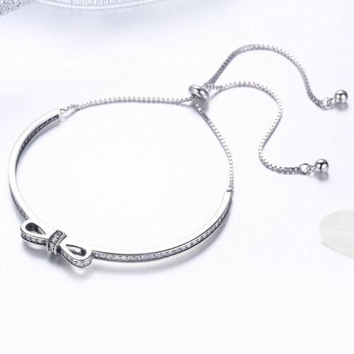 Nouveau 925 STERLING SILVER SWEET Bow-Knot Bracelet Réglable Bracelet Zircon pour Femmes