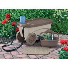 Great Rolling Garden Scooter Portable Seat Kneeling Pad Storage Bin Tools Cart W  Strap