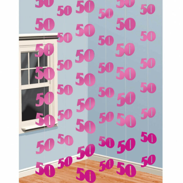6 Pink 50th Birthday Party 7ft String Decorations