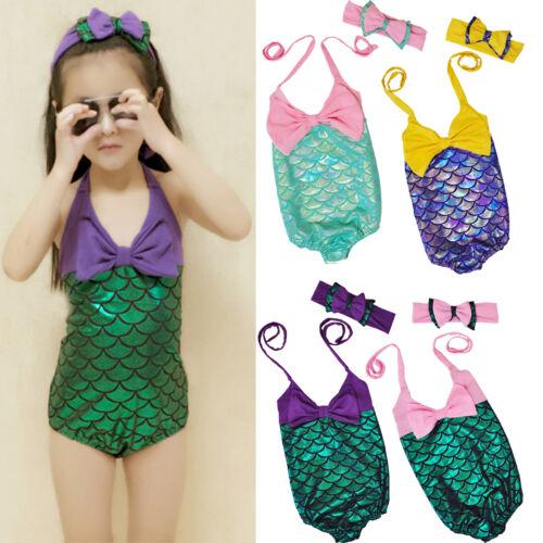 Toddler Kids Girls Mermaid Bow Swimsuit Headband 2PCS Swimwear bathing Set