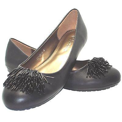 Para Mujer Negro Ballerina Pump Casual Mocasines Comodidad Zapatos Planos Tamaño 36-41 f-8819