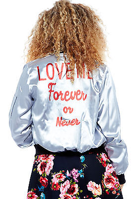 "Womens Lightweight Silk ""LOVE ME Forever or Never"" Back Printed Bomber Jacket"