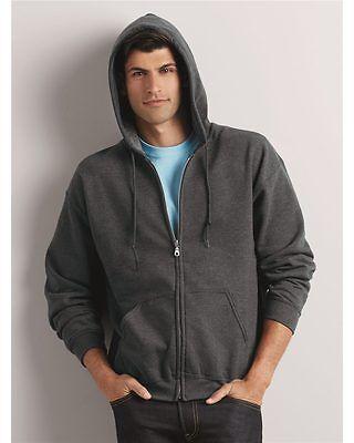 Dark Heather Large Gildan Men/'s Fleece Zip Hooded Sweatshirt