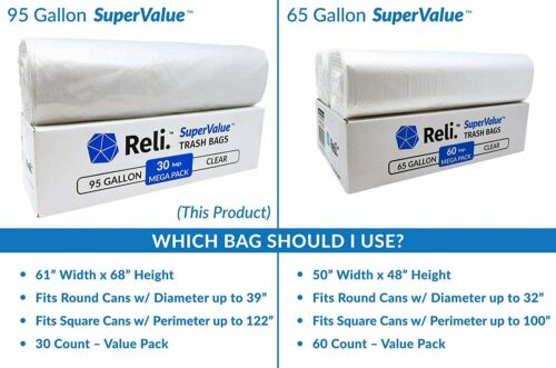 30 Count 96 Gal Reli Clear Large 90 Gal SuperValue 95 Gallon Trash Bags