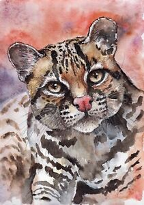 Ocelot-original-watercolor-wild-cat-painting-pet-animal-kitty-kitten-red-art