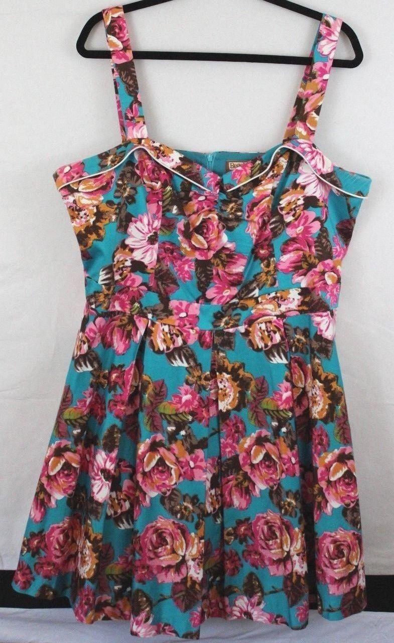 Beach Bash Tatyana Foratina Teal Rosa Flowers Dress V-Neck Rockabilly Pin-Up 3XL