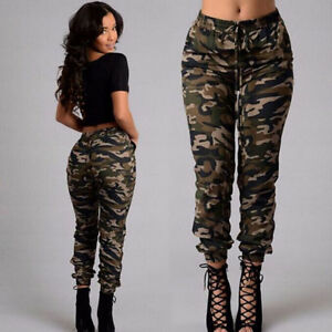 cd56ae4bffa60 Details about Women Cargo Pants High Waist Jogger Skinny Trousers  Sweatpants Plus Size