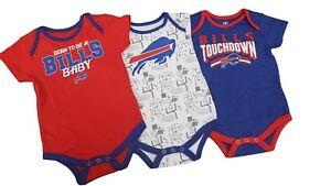 100% authentic bf96b 0894f Details about Buffalo Bills Official NFL Apparel Baby Infant Size 3 Piece  Creeper Bodysuit New