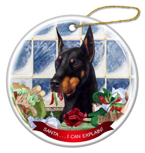 Black Doberman with Cropped Ears Porcelain Ornament /'Santa. I Can Explain!/'