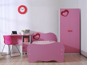 Girls Pink Heart Single Bed Frame With Bedroom Furniture EBay