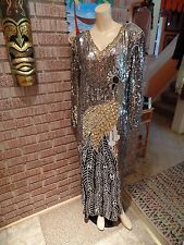 Women's Vintage 70's 80's Black Beaded Sequins Peacock Design Caftan Dress L
