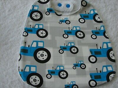 Diggers and Tractors Blue Burp Cloths Set of 3 Towelling Backed GREAT GIFT IDEA!
