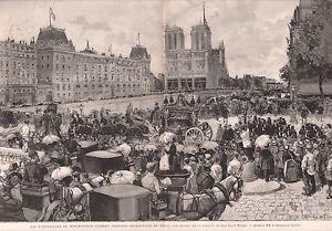 FUNERAILLES-MONSEIGNEUR-GUIBERT-PONT-ST-MICHEL-PARIS-GRAVURE-ANTIQUE-PRINT-1886