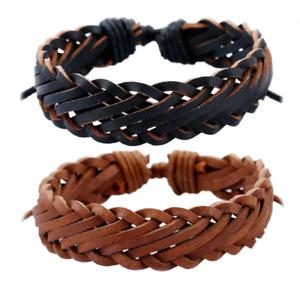 Adjustable-Men-Genuine-Leather-Bracelet-Braided-Wristband-Charm-Bangle-Handmade