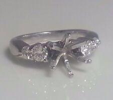 14k White Gold Semi- Mount Diamonds  Ring 0.36 Tcw For 1.40-1.70 Carat Round