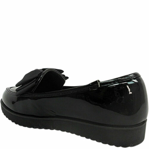 GIRLS KIDS LADIES FLAT LOW LOAFERS DOLLY SCHOOL SHOES SIZE BOW PUMPS WORK T BAR