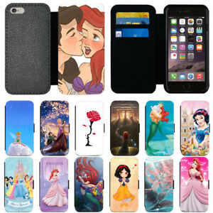 new concept d5e45 0319e Details about For Apple iPhone 5s 6 6s 7 8 X Plus Disney Princess Flip  Wallet Phone Case Cover