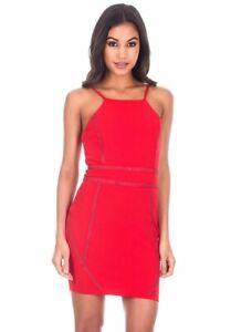 New AX Paris Women's Spaghettis Sleeve Mini Dress Red Studded Size 8
