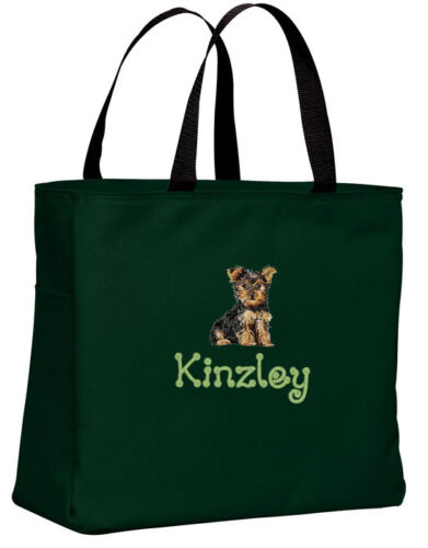 Yorkshire Terrier Yorkie embroidered essential tote bag 18 COLORS