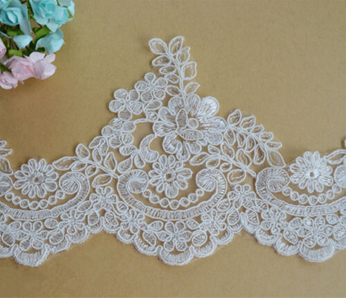 Corded Floral Wedding Dress Edging Bridal Gown Embroidered Lace Trim Ribbon 1 Y