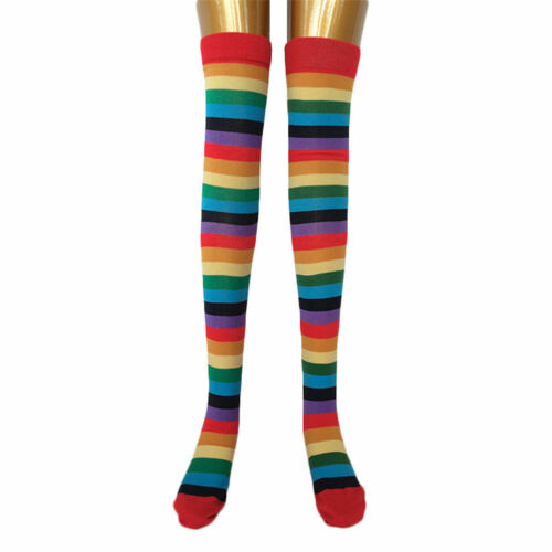 Women OVER KNEE SOCKS Rainbow Striped High Thigh Long Stripey Stocking Sock