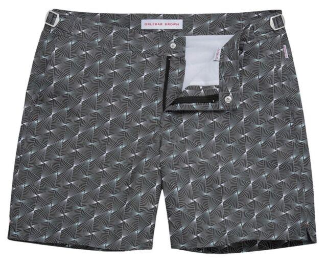 291a98275d New Orlebar BROWN BULLDOG Black Astera Print Mid-Length Swim Shorts Trunk  Sz 30