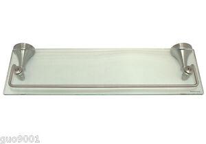 "Satin Nickel Bathroom Accessories Bath 18"" x 6"" Glass Shelf Hardware Accessory"