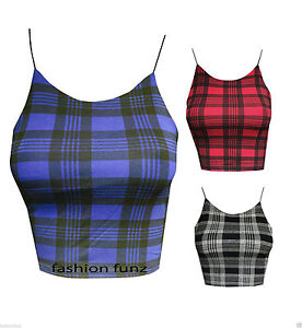 Womens-New-Ladies-Comic-Tartan-Check-Print-Bra-Bralet-Strap-Crop-Top-Dress-8-14