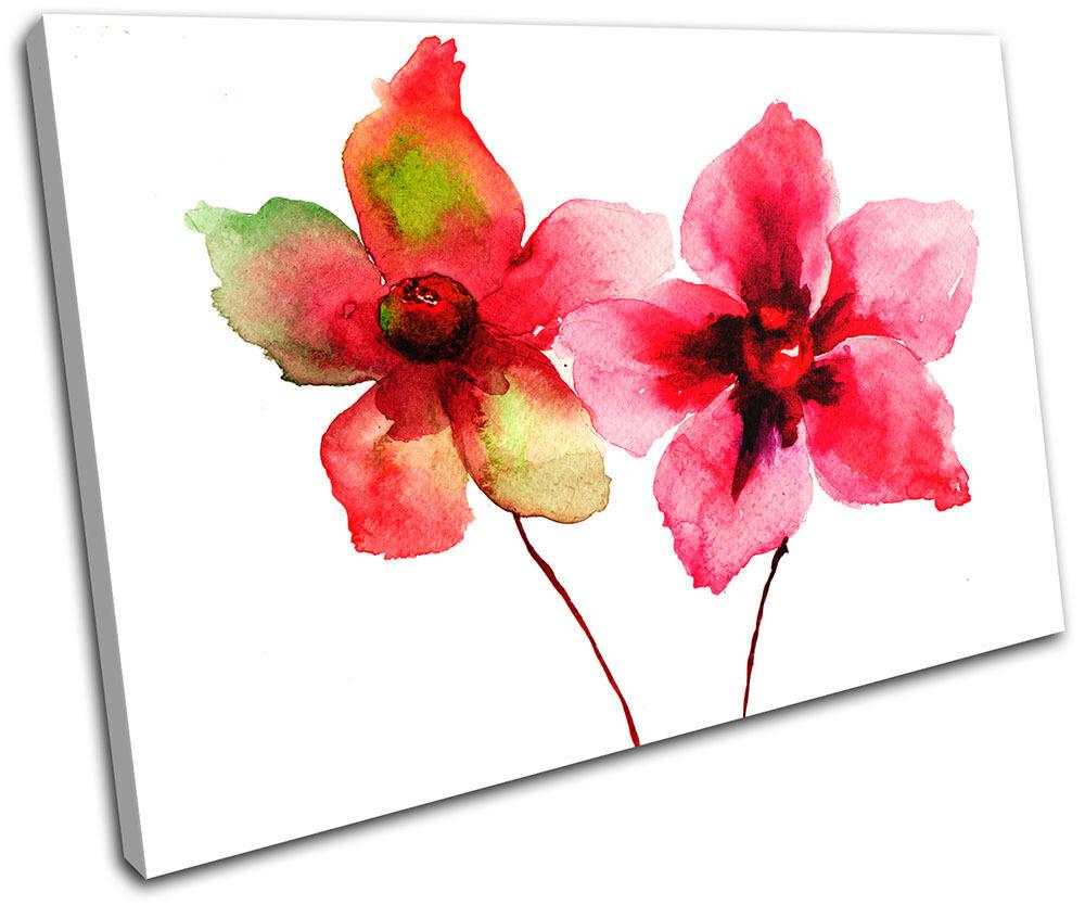 rot Flowers Watercolour  Floral SINGLE Leinwand Wand Kunst Bild drucken