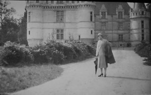 Glass-Vintage-Lantern-Slides-Chateau-d-Azay-Lady-in-Garden-3-034-Square
