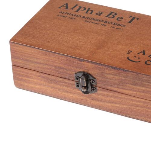 70pcs Holz Brief Alphabet Stempel Set Retro Vintage Fall Gummi   DIY