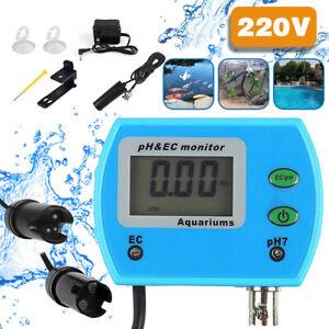 2 in 1 Aquarium Pool Digital PH//EC Wert Messgerät Meter Prüfer Mit AC-DC-Adapter