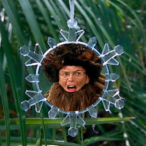 Dwight Schrute Belsnickel Snowflake Blinking Holiday Christmas Tree Ornament
