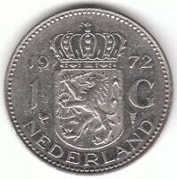 1972 Netherlands 1 Gulden Nickel Coin - Juliana Koningin