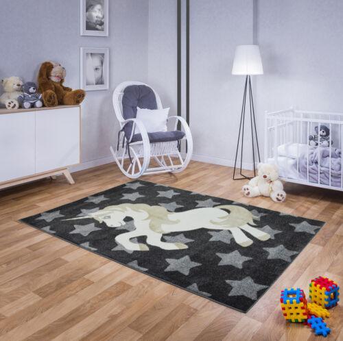 Teppich Kinderteppich Kinderzimmer Kurzflor Hochwertig Blumen Einhorn Pastell