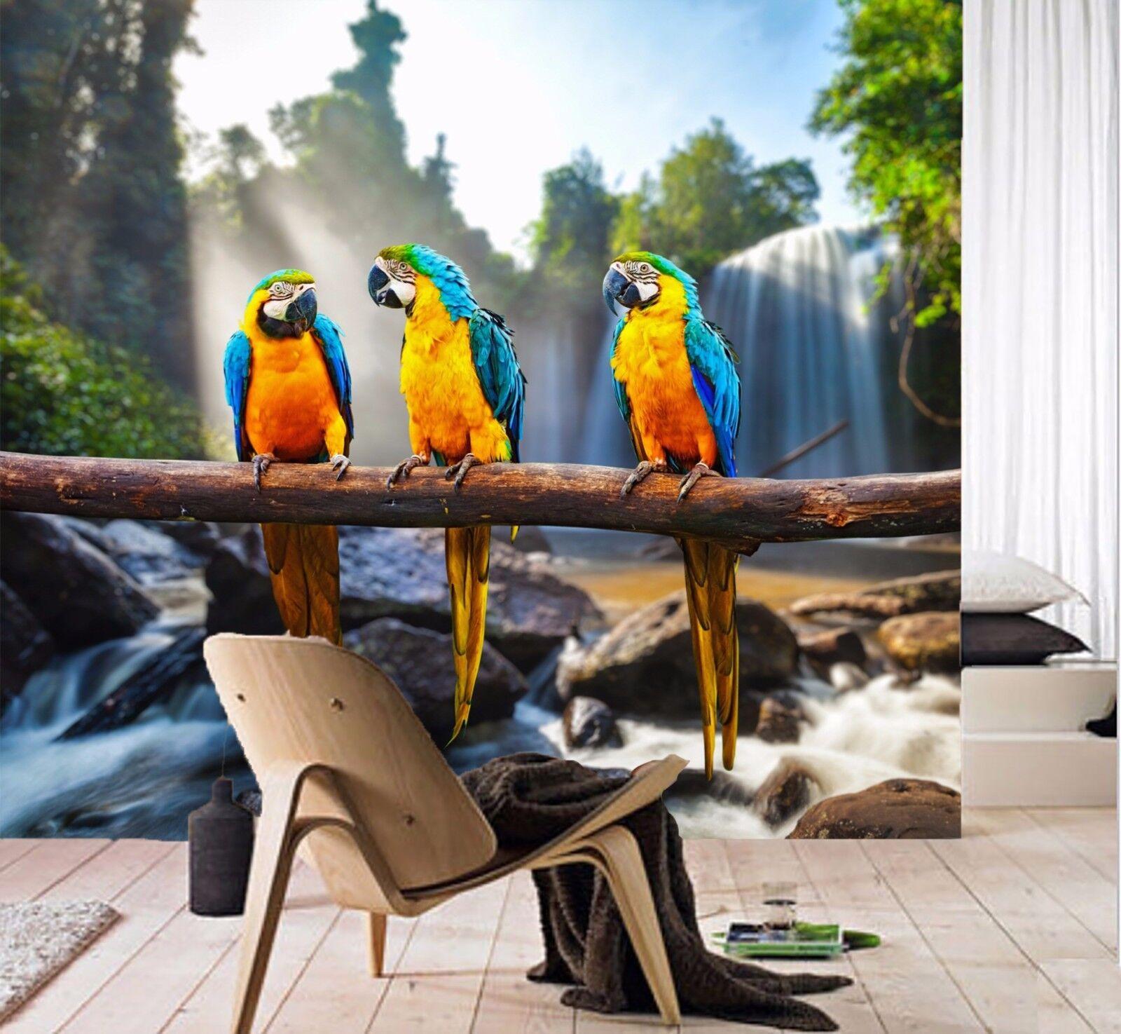 3D Dschungel Papagei 8783 Tapete Wandgemälde Tapeten Bild Familie DE Jenny | Spielzeugwelt, glücklich und grenzenlos  | Luxus  |
