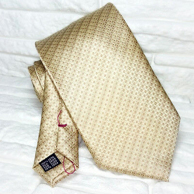 Cravatta Jacquard Cuciture Rosse Beige 100% Seta Made In Italy Evento Business Per Cancellare Il Fastidio E Per Estinguere La Sete