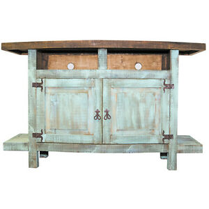 Turquoise 2 door TV stand Flat Screen Console Western Rustic Real Wood Cabin