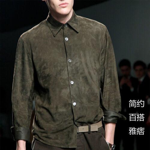 Occident pour Homme en Daim Haut à Manches Longues Shirt British Rétro Slim Casual Blouses HMK