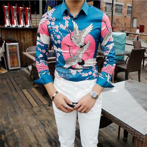 Nightclub Mens Long Sleeve Lapel Printing Floral Slim Fit Shirts Casual Tops poY