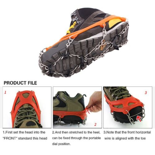 10 Teeth Anti Slip Ice Snow Spikes Grips Grippers Crampon For Shoes Boots