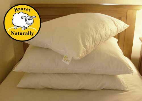 Baavet 100/% Pure Wool Luxury Pillow 75x50cm Hypo Allergenic Anti Dust Mite