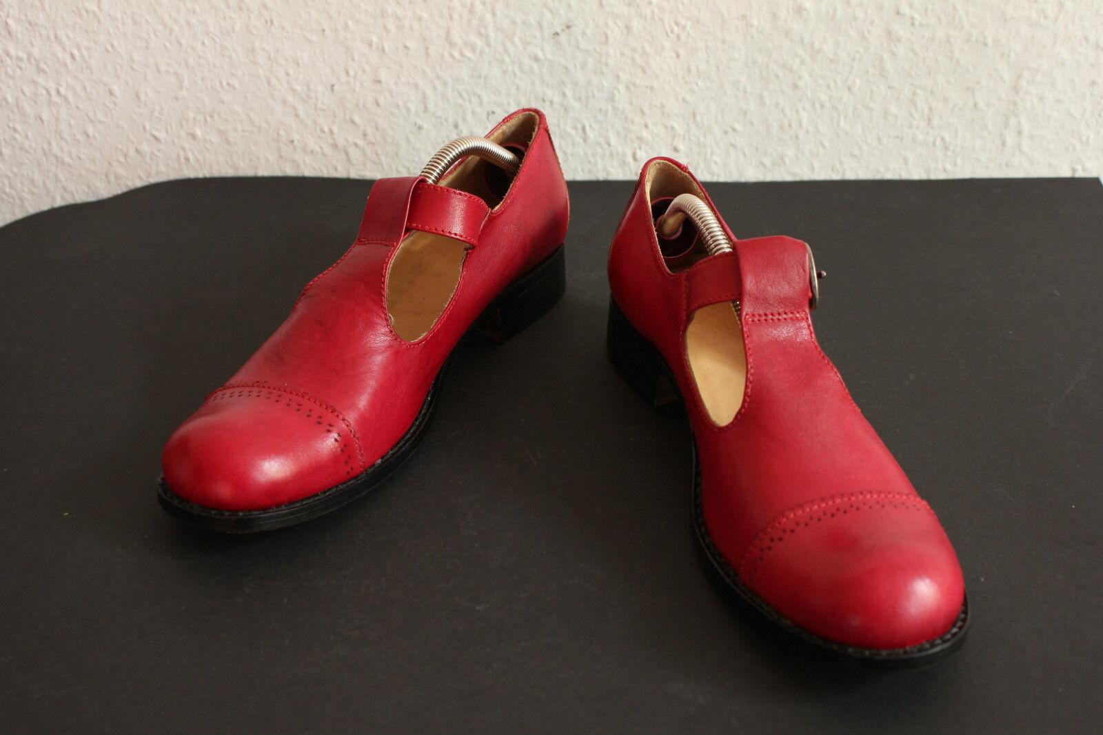 Vintage Impunture Mary Jane Halbschuhe Riemchen Sandale Echtleder Rot 39 39,5
